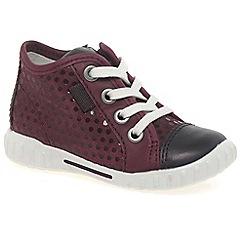 Ecco - Dark red 'Frankie lace' girls trainers