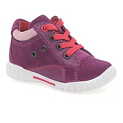 Ecco - Dark pink sam lace girls trainers