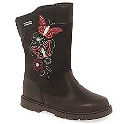 Start-rite - Girls' brown leather 'Aqua Butterfly' knee high boots