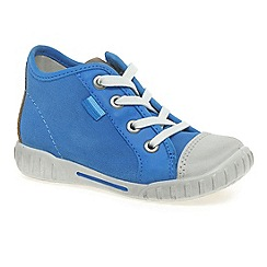 Ecco - Blue 'frankie lace' boys zip fastening nubuck trainers