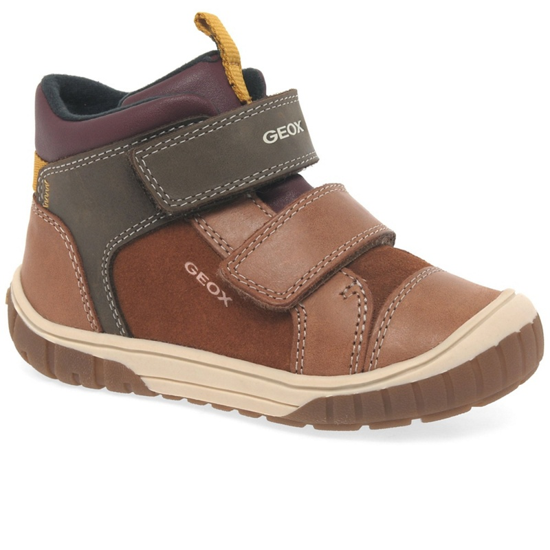 GEOX | Geox - Brown Leather 'Baby Omar' Infant Boys Ankle Boots | Goxip