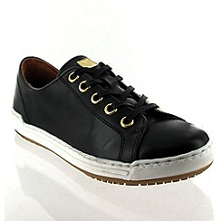 Marta Jonsson - Black Leather Trainer With Lace Fastening