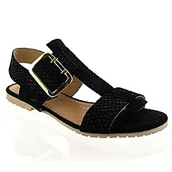 Marta Jonsson - Black leather sandal with gold buckle detail