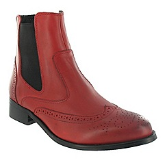 Marta Jonsson - Red ankle boot with brogue pattern
