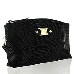 Marta Jonsson - Black Leather Clutch Bag With MJ Detail