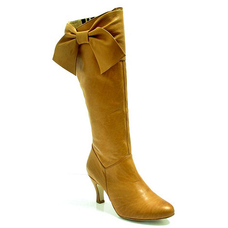 Marta Jonsson - Tan leather knee high boot with bow detail