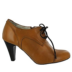 Marta Jonsson - Tan women's high heeled lace up shoe