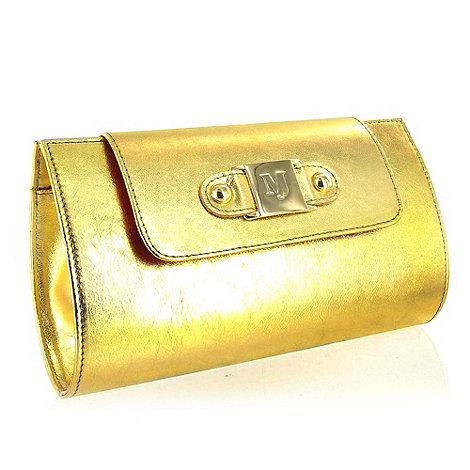 Marta Jonsson - Gold Leather Clutch Bag With MJ Detail