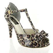 Leopard patent leather sandal