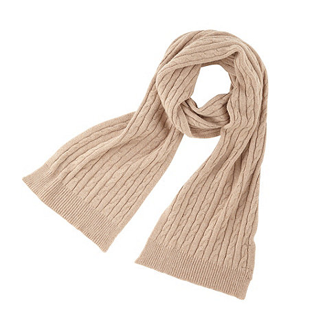Joe Browns - Beige cashmere blend cable knit scarf