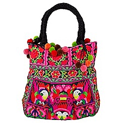 Joe Browns - Multi coloured embroidered pom pom bag