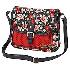Joe Browns - Red mix fabric bag with pin