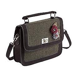 Joe Browns - Dark green unique tweedy corsage bag