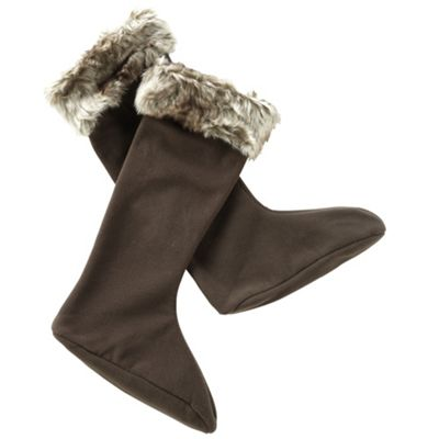 Brown fabulous furry welly socks