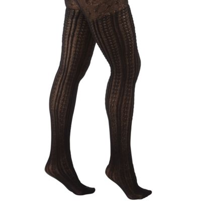 Black essential cable woolly tights