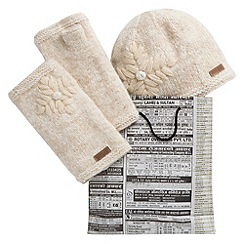 Joe Browns - Cream snowflake hat and glove set