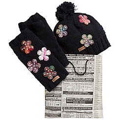 Joe Browns - Multi coloured floral hat and glove set