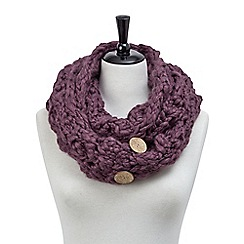 Joe Browns - Plum hand knit button snood