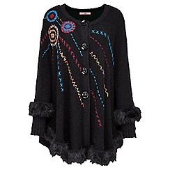 Joe Browns - Black fur trim cape
