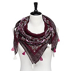 Joe Browns - Plum fabulous floral tassel scarf