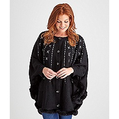 Joe Browns - Black fantastic faux fur trim cape