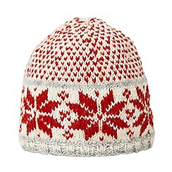 Joe Browns - Red snowflake wool beanie