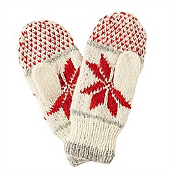 Joe Browns - Red snowflake wool mittens