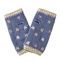 Joe Browns - Blue embroidered wool handwarmers