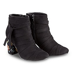 Joe Browns - Black suedette high block heel ankle boots