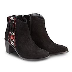Joe Browns - Black suede high block heel ankle boots
