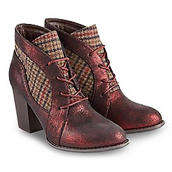 Joe Browns - Plum 'Tweedy' high block heel ankle boots