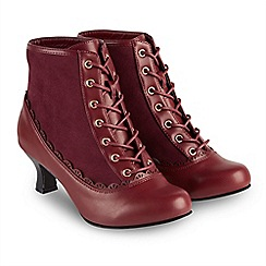 Joe Browns - Red mid kitten heel ankle boots
