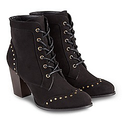 Joe Browns - Black high block heel lace up ankle boots
