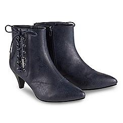 Joe Browns - Dark blue 'Mystical' mid kitten heel ankle boots