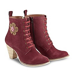 Joe Browns - Dark red suede 'Quirky and Cute' high block heel lace up boots