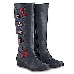 Joe Browns - Blue 'Funky And Fabulous' mid wedge heel knee high boots