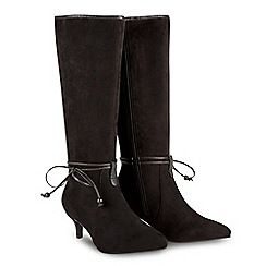 Joe Browns - Black suedette 'Pixie' mid kitten heel knee high boots