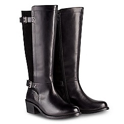 Joe Browns - Black leather mid block heel knee high boots
