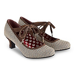 Joe Browns - Brown 'Charming Tweedy' mid kitten heel court shoes