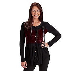 Joe Browns - Black luxurious crushed velvet blouse