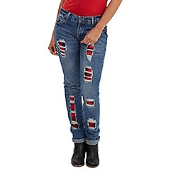 Joe Browns - Mid blue check patch jeans