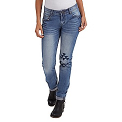 Joe Browns - Mid blue aztec patch jeans