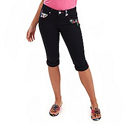 Joe Browns - Navy embroidered capri pants