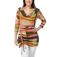 Multi coloured ruched jersey tunic