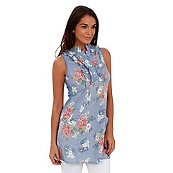 Joe Browns - Blue ruffle rose print tunic