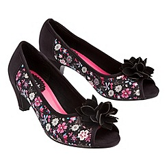 Joe Browns - Black fabulous floral peep toe shoes