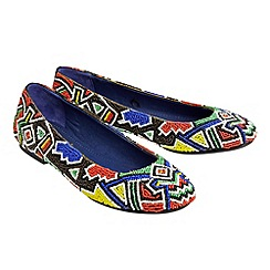 Joe Browns - Multi coloured funky beaded ballerinas