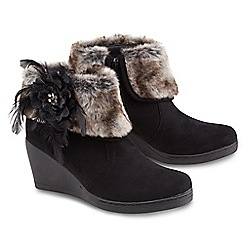 Joe Browns - Black remarkable wedge corsage boots