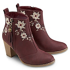 Joe Browns - Dark red beautiful embroidered boots
