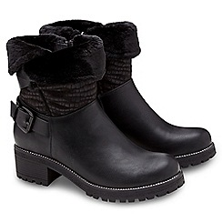 Joe Browns - Black faux fur trim biker boots